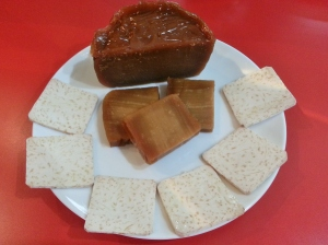 sliced yam and uncooked nian gao pieces